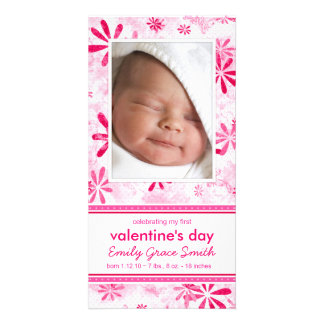 Valentine s Day - New Baby Announcement Photo Card Template