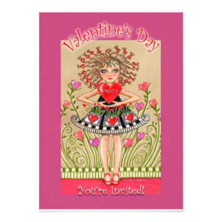 Valentine s Day Party invitation Girl with Heart