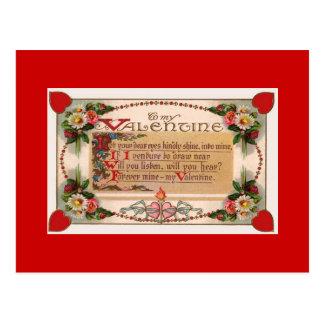 Valentine s Day Romantic Poem Postcard