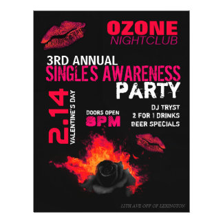 Valentine s Day Single s Awareness Party Flyers