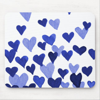 Valentine's Day Watercolor Hearts – blue Mouse Mat