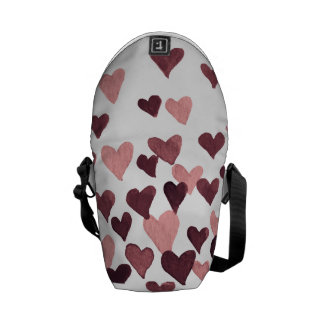 Valentine's Day Watercolor Hearts – dark pink Commuter Bags
