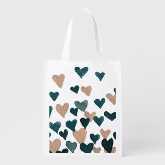 Valentine's Day Watercolor Hearts – neutral Reusable Grocery Bag