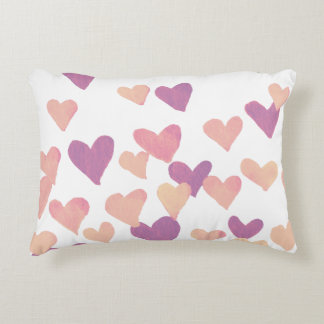 Valentine's Day Watercolor Hearts – pastel pink Decorative Cushion