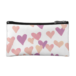 Valentine's Day Watercolor Hearts – pastel pink Makeup Bag