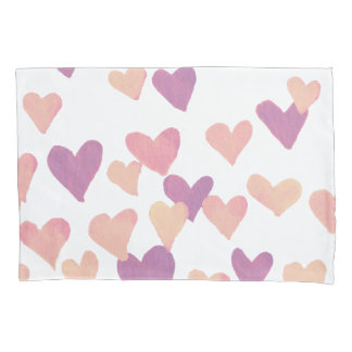 Valentine's Day Watercolor Hearts – pastel pink Pillowcase