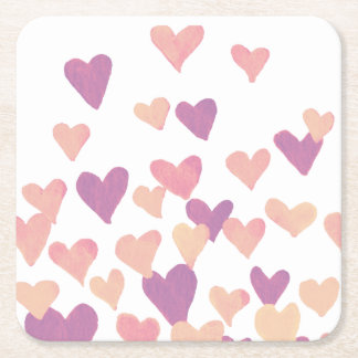 Valentine's Day Watercolor Hearts – pastel pink Square Paper Coaster
