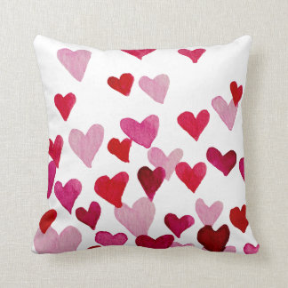 Valentine's Day Watercolor Hearts – pink Cushion