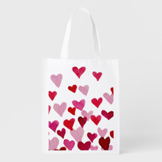 Valentine's Day Watercolor Hearts – pink Reusable Grocery Bag