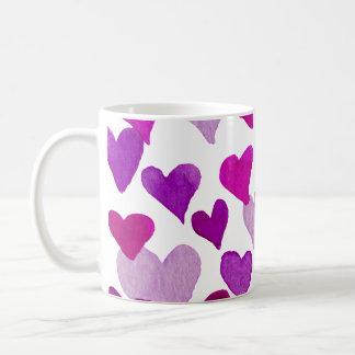 Valentine's Day Watercolor Hearts – purple Coffee Mug