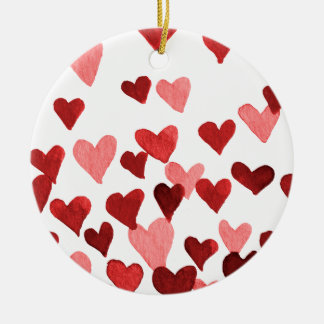 Valentine's Day Watercolor Hearts – red Christmas Ornament