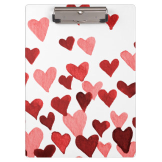 Valentine's Day Watercolor Hearts – red Clipboard