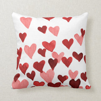 Valentine's Day Watercolor Hearts – red Cushion