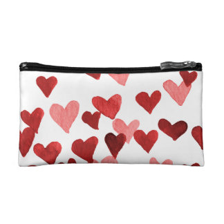 Valentine's Day Watercolor Hearts – red Makeup Bag
