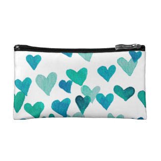 Valentine's Day Watercolor Hearts – turquoise Cosmetic Bag
