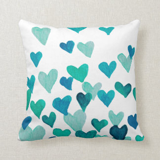 Valentine's Day Watercolor Hearts – turquoise Cushion