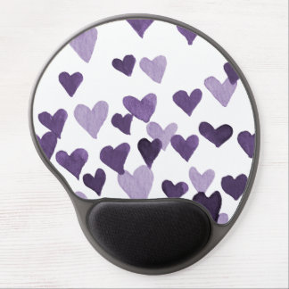 Valentine's Day Watercolor Hearts – ultra violet Gel Mouse Mat