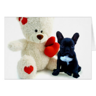 Valentine s French Bulldog puppy Greeting Card
