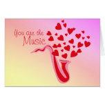 Valentine Saxophone Hearts Greeting Card