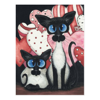 Valentine Siamese Cat - Love x's Two Postcard