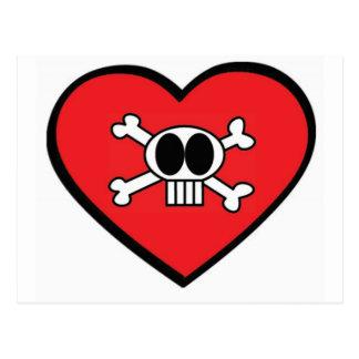 Valentine Skull and Heart Postcards