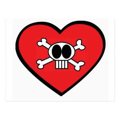 Valentine Skull and Heart Postcards