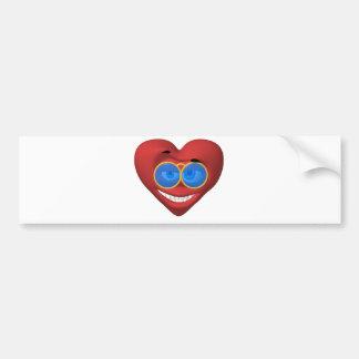 Valentine smiley wearing groovy sun glasses bumper sticker