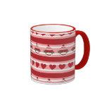 Valentine Sock Monkey Stripes Ringer Coffee Mug