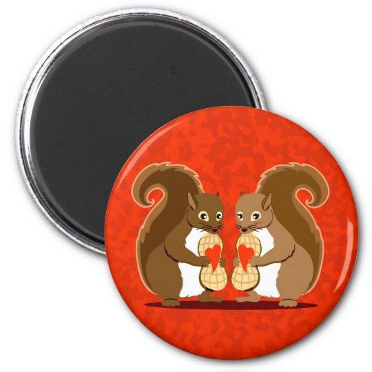 Valentine squirrels 1 6 cm round magnet
