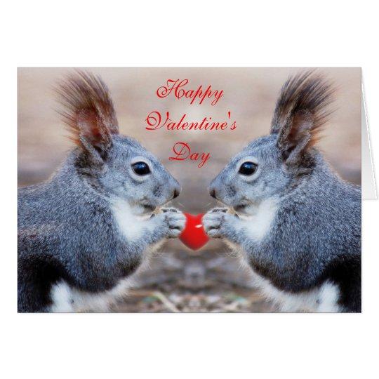 Valentine Squirrels - Happy Valentine's Day Card