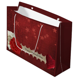 Valentine Stars and Roses Large Gift Bag