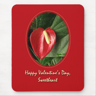 Valentine Sweetheart Card - Anthurium Mouse Pad