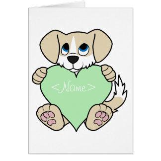 Valentine Tan Dog with Blaze & Light Green Heart Greeting Card