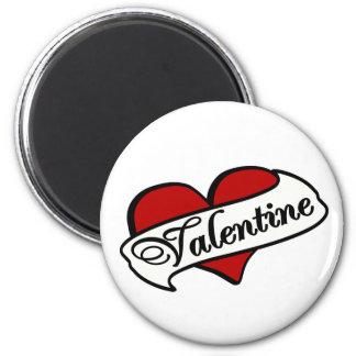 Valentine Tattoo With Heart & Banner 6 Cm Round Magnet