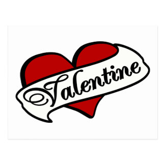 Valentine Tattoo With Heart & Banner Postcard