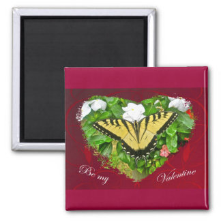 Valentine Tiger Swallowtail Butterfly Items Square Magnet