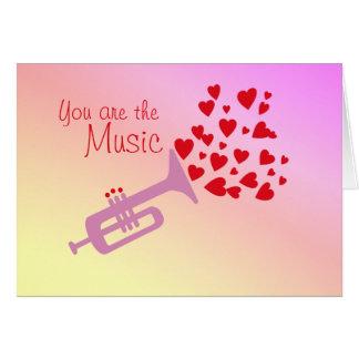 Valentine Trumpet Hearts Card