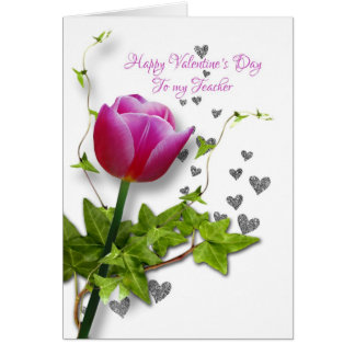 valentine tulip for  teacher greeting card