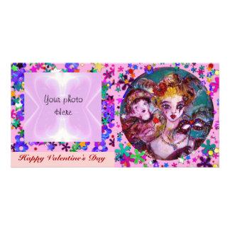 VALENTINE VENETIAN MASQUERADE MASKS AND CONFETTI PICTURE CARD