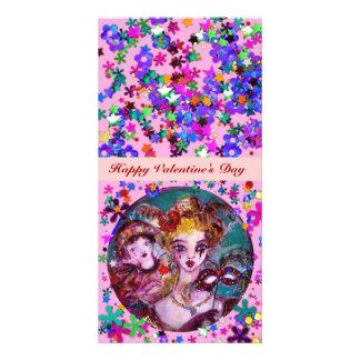 VALENTINE VENETIAN MASQUERADE MASKS PHOTO GREETING CARD