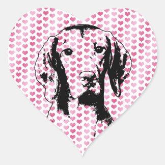 Valentine - Vizsla Silhouette- Reagan Heart Sticker