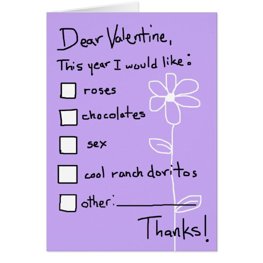 Valentine Wish List Card