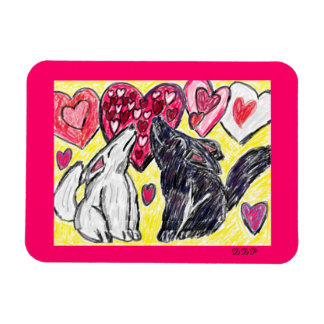 Valentine wolf howling rectangular photo magnet