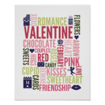 Valentine Words Valentine's Day Poster Sign