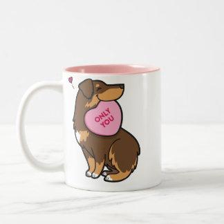 Valentine's 2015-Australian Shepherd-Red Tri-Color Two-Tone Coffee Mug