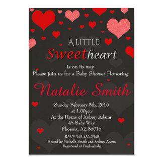 Valentines Baby Shower Invitation, Sweetheart 13 Cm X 18 Cm Invitation Card
