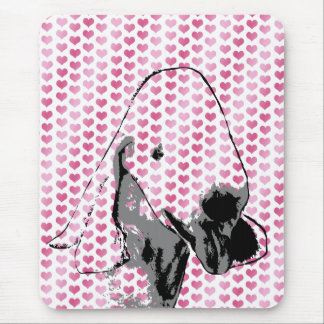 Valentines - Bedlington Terriers Silhouette Mouse Pad