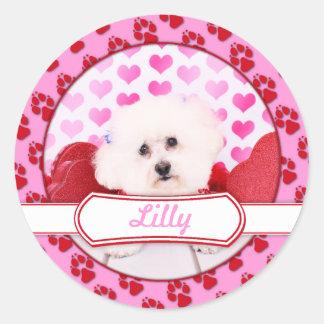 Valentines - Bichon Frise - Lilly Classic Round Sticker
