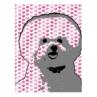 Valentines - Bichon Frise Silhouette Postcard