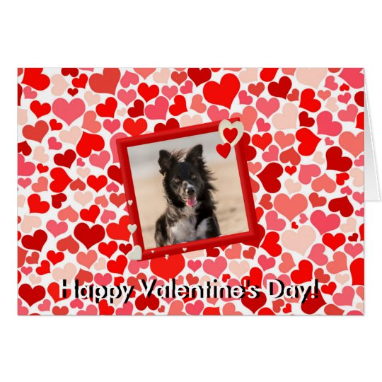 Valentines Border Collie Dog Hearts Greeting Card